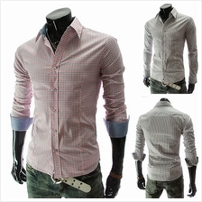 Men Fashion Plaid Long-sleeved Shirt (2 Color) MT590105