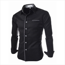 Men Luxury Trim Men's Long-sleeved Shirt (2 Color) MT590100