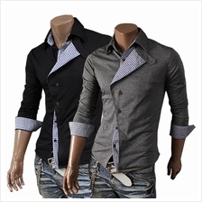 Men Oblique Collar Mixed Colors Placket Shirt (2 Color) MT005413