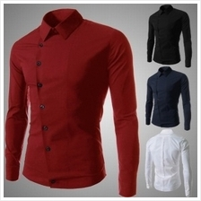 Men -Oblique Buckle Slim Fit Long-sleeved Shirt (2 Color) MT059688