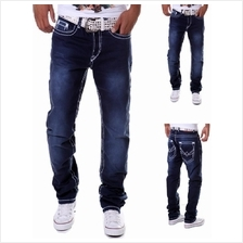 Men Straight Jeans Pants (Blue) MT005475