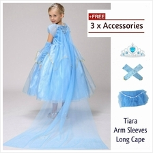 Princess Frozen Cosplay Concert Costume Kid Girls Party Dress + FREE Gift