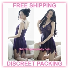 Sexy Lingerie Purple Babydoll Dress Women Sleepwear Nightwear Pajamas