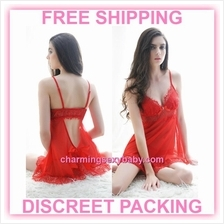Sexy Lingerie Red Sling Babydoll Dress + G-String Sleepwear Nightwear
