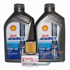 Shell Advance ULTRA 15W-50 Engine Oil (1 litre) x2 + Yamaha Oil Filter