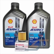 Shell Advance ULTRA 10W-40 Engine Oil (1 litre) x2 + Yamaha Oil Filter