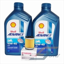 Shell Advance AX7 10W-40 Engine Oil (1 litre) x2 + Yamaha Oil Filter
