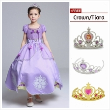 Princess Sofia Cosplay Costume Kid Concert Girl Party Dress + FREE Tiara