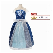 Princess Cinderella Cosplay Concert Costume Kid Party Dress + FREE Tiara