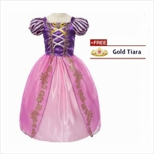 Princess Rapunzel Cosplay Costume Concert kids Girls Party Dress + FREE Tiara