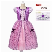 Princess Sofia Cosplay Costume Concert Kid Girls Party Dress + FREE Tiara