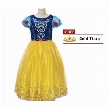 Princess Snow White Cosplay Costume Concert Girls Party Dress + FREE Tiara