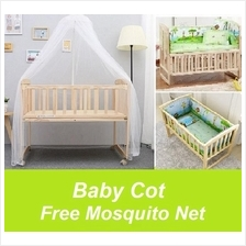 Baby Bed Rocking Baby Cot Cradle Baby Cot Wooden with 5pcs Bedding Set