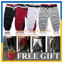 Casual Mens 3/4 Knee Jogger Sport Shorts Baggy Gym Harem Pants Rope