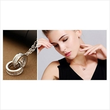 S925 Ring in Ring Swarovski Zirconia Pendant with Necklace Set