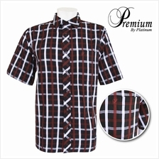 PREMIUM BIG SIZE Checked Fine Cotton Shirt PMP8191 (Black Brown)