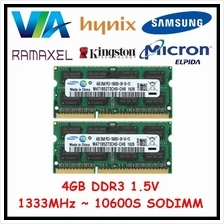 4GB DDR3 Laptop Memory RAM - 1333MHz 10600S ( Intel and AMD )