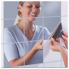 9 pcs Decorative Mirrors Self-Adhesive Reflect Mosaic Wall Stickers