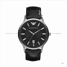 EMPORIO ARMANI AR2411 Men's Classic 3-hand Date Leather Strap Black