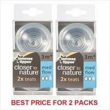 Tommee Tippee Closer to Nature Medium Flow Teats 3m+ (2 PACKS)