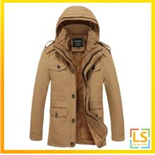 Plus Size Men Hooded Multi Pockets Winter Autumn Jacket Coat