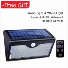 60 LED Wireless Waterproof Solar Motion Sensor Lights Outdoor Remote