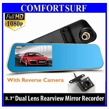3.7 inch Car Mirror DVR Recorder 1080 wf Rear Camcorder Rearview
