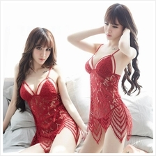 Maroon Chantilly Lace Babydoll Sleepwear Sexy Lingerie S250 (3 Colour)