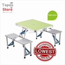 Outdoor Aluminum Portable Folding Suitcase Camping Picnic Table 4 Seat