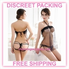 Sexy Lingerie Black Transparent Dress + Panties Sleepwear Nightwear