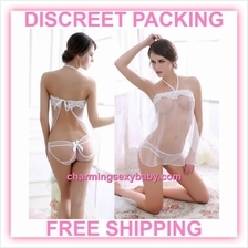 Sexy Lingerie White Transparent Dress + Panties Sleepwear Pajamas