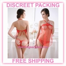 Sexy Lingerie Red Transparent Dress + Panties Sleepwear Pyjamas