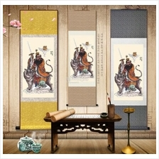 Master Zhang Tian silk painting portrait scroll painting 120x45cm Gold