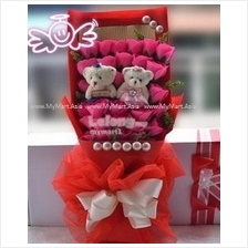 Valentines Romantic Gift 33Rose with Teddy Bear Bouquet ROSE