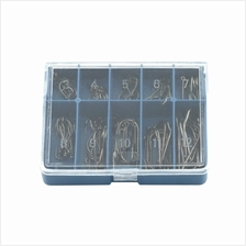1 Set 70 Pcs 10 Sizes 3# - 12# Black Silver Fishing Hooks With Carry B..