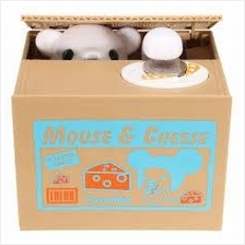 MOUSE & CHEESE  Stealing Coin Bank Steal Money Saving Box Fun Cute Toy
