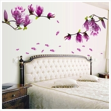 Magnolia Pattern Removable Wall Stickers for Bedroom Backdrop TV