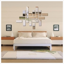Acrylic 3D Rectangle Mirror Effect Mural Wall Sticker Decal Home Room ..