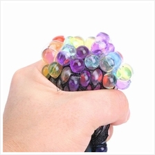 12 pcs Rainbow Mesh Squish Ball Stress Relief Rubber BaLL Slime