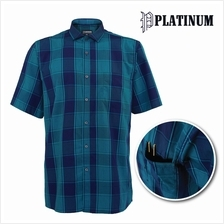 PLATINUM BIG SIZE 100% Cotton Checked Short Sleeves Shirt PM8227 (Green)