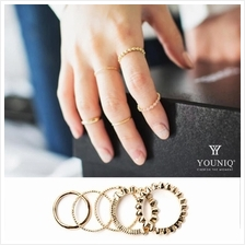 YOUNIQ Basic 5 in 1 Simple Vintage Gold Ring Set with Cubic Zirconia