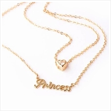 YOUNIQ Basic Korean Princess Love Gold Necklace with Cubic Zirconia