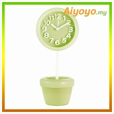 GREEN Round Shape Vase Alarm Clock Cartoon Creative Personality Mute M