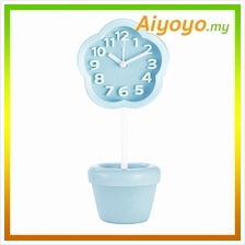 BLUE Flower Shape Vase Alarm Clock Cartoon Creative Personality Mute M