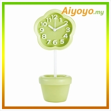 GREEN Flower Shape Vase Alarm Clock Cartoon Creative Personality Mute