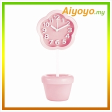 PINK Flower Shape Vase Alarm Clock Cartoon Creative Personality Mute M