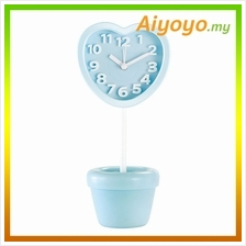 BLUE Love Shape Vase Alarm Clock Cartoon Creative Personality Mute Min