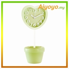 GREEN Love Shape Vase Alarm Clock Cartoon Creative Personality Mute Mi