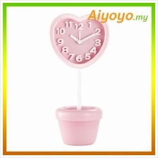 PINK Love Shape Vase Alarm Clock Cartoon Creative Personality Mute Min