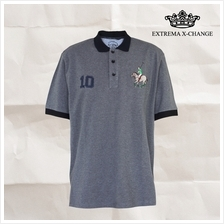 EXTREMA BIG SIZE Solid Pique Polo with Embroidery Badges EX2280 (Dark Melange)